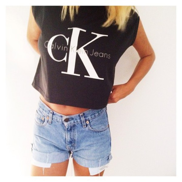 calvin klein jeans cotton blend cropped muscle tee. Black Bedroom Furniture Sets. Home Design Ideas