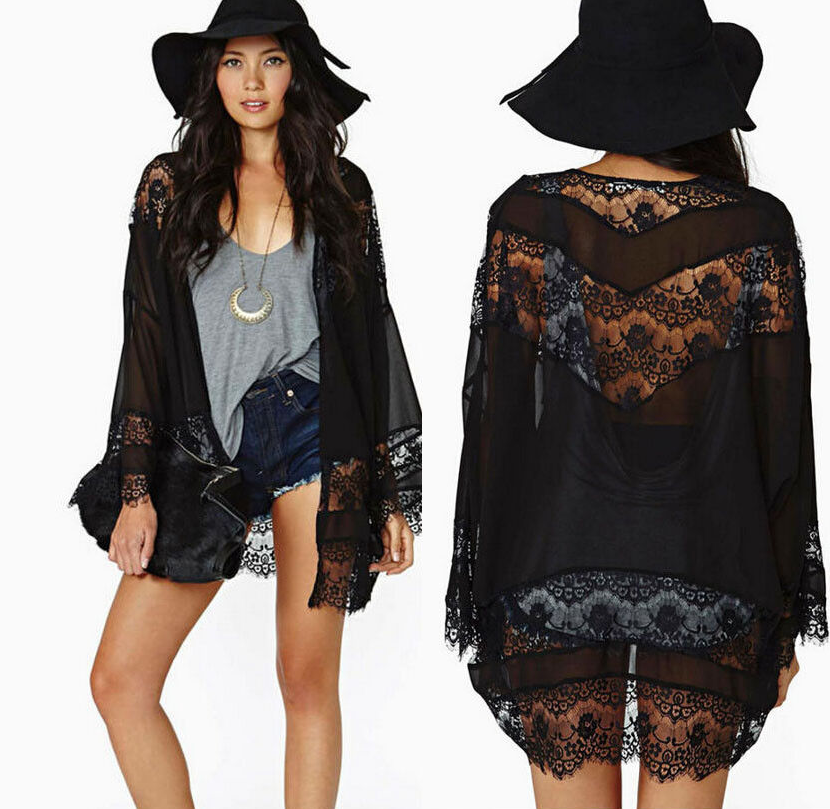 Eyelash lace black kimono · fashion struck · online store powered by storenvy