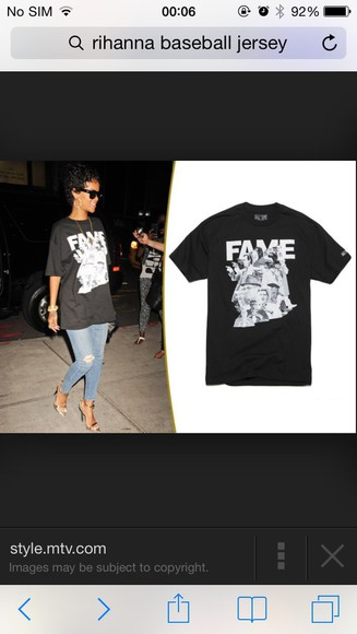 oversized t-shirt fame top blacktop simple graphic top rihanna baggy tshirt