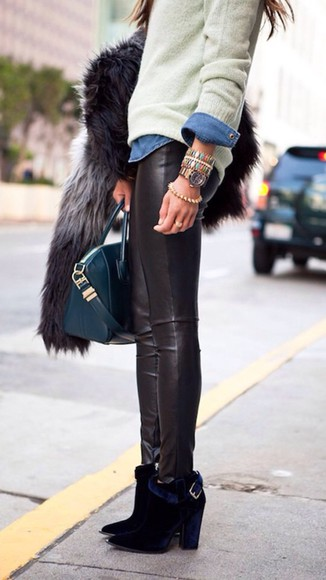 pants jeans sweater skinny pants black leather winter bangles