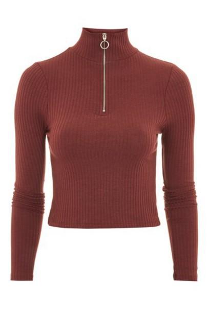 Topshop top long zip burgundy