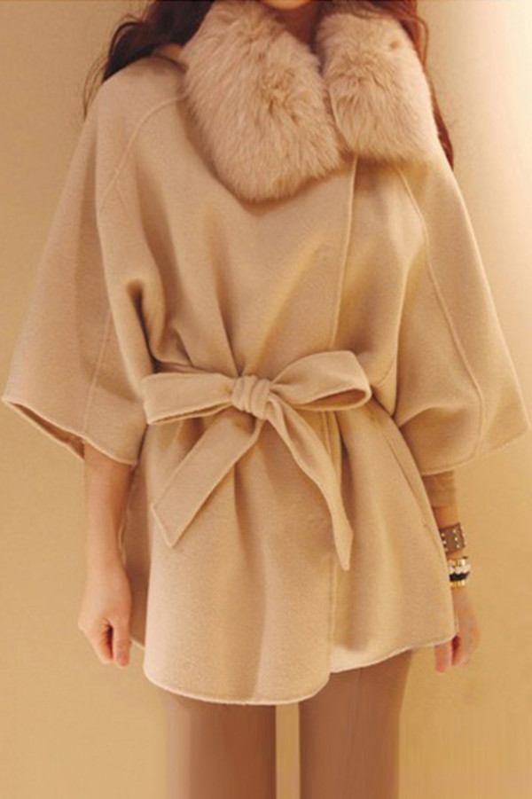 coat croped sleeves belted romwe apricot
