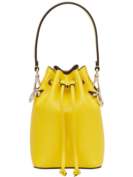 Fendi women bag bucket bag leather yellow orange