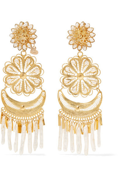 Mercedes Salazar pearl earrings gold jewels