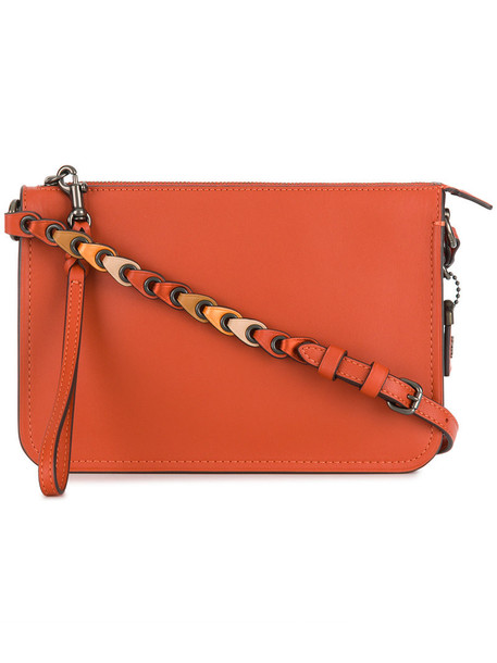 coach women bag crossbody bag leather yellow orange