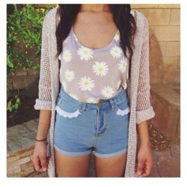 shorts High waisted shorts sweater tank top jacket pants blouse shirt floral floral tank top floral floral t shirt romper romper white lace party dress short pretty t-shirt flowers frill high waisted frilly shorts daisy blouse beyonce beige nude spring cardigan