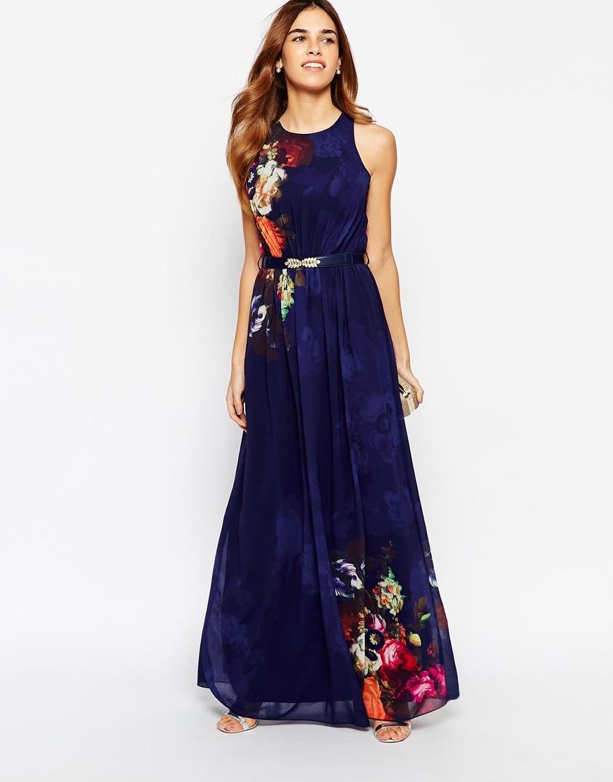Mistress Mirror Floral Belted Maxi Dress at asos.com