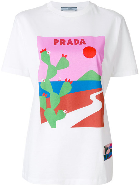 Prada t-shirt shirt t-shirt women white cotton print top