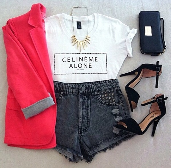 shorts shoes coat t-shirt jewels bag jacket shirt white black print statement