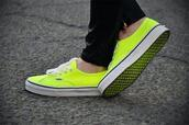shoes,vans,sneakers,neon,yellow,soles,colorful,color/pattern,street,fashion,girl,girly
