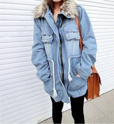 Women Thicken Jean Winter Coat Denim Faux Fur Collar Parka Warm Jacket Overcoat Free Shipping-in Down & Parkas from Apparel & Accessories on Aliexpress.com