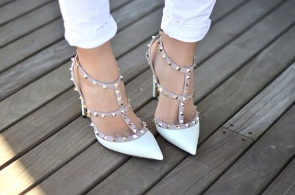 shoes white white high heels