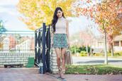 metallic paws,blogger,top,skirt,bag,shoes