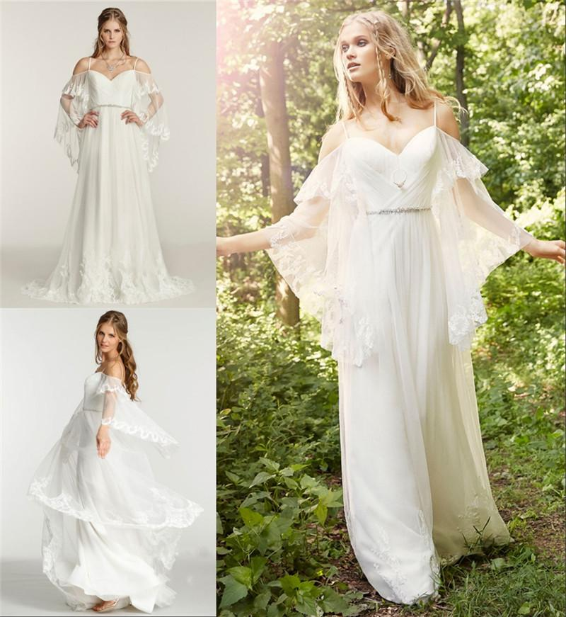 Sexy boho beach chiffon lace wedding dresses plus size for Cheap boho wedding dresses