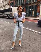 shoes,pumps,slingbacks,cropped jeans,high waisted jeans,belt,puffed sleeves,shirt,sunglasses,earrings