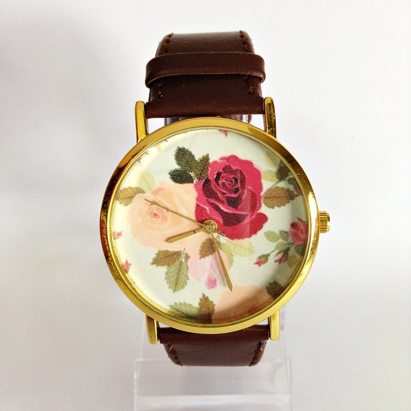 Floral Watch, Rose Watch, Vintage Style Watch, Victorian, Leather Watch, Women's watch, Boyfriend watch, Flowers, Roses, Mom, Sister,