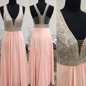 dress,baby pink dress,modnessa,prom dress,sexy deep-v neck prom dress,beading prom dress,v-back prom dress,long prom dress,sweet style prom dresses,sexy homecoming dress