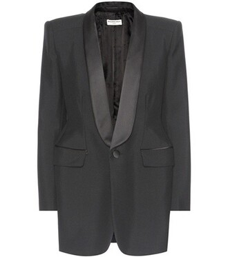 jacket mohair wool satin black