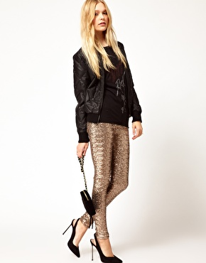 River island gold sequin pant at asos