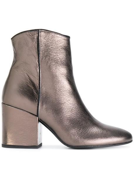 Marc Ellis heel women ankle boots leather grey metallic shoes