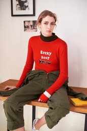 sweater,bella freud,red sweater,jumpsuit,army green  jumpsuit,turtleneck,fall outfits,All black  outfit