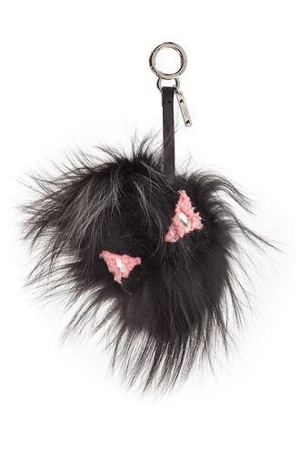 fur fox bag silver black