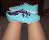 shoes,floral laces,mint blue shoes,floral design,multicolor,white,mint,cute,summer,summer shoes,flowers,low top sneakers
