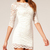 White Boat Neck Half Sleeve Bodycon Lace Dress - Sheinside.com
