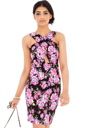 dress floral summer dress cross over floral mini cut-out black flora mint floral cross over back