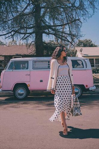 hallie daily blogger cardigan skirt shoes bag tank top top sunglasses polka dots spring outfits sandals