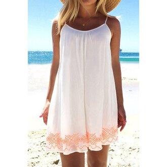 dress white summer beach fashion style casual rose wholesale-feb