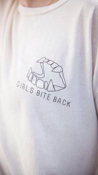 blouse white black girl bite top