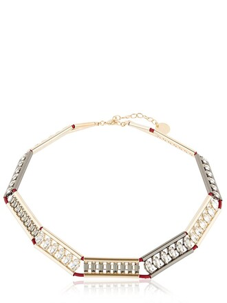 necklace gold red jewels