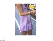 dress,purple,lilac,gold,silver,studs,yellow,pleats
