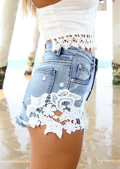 Sexy lace stitching shorts az910fc