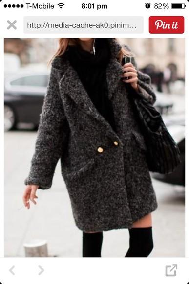 grey coat wool buttons thick winter coat long coat