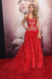dress,gown,prom dress,red dress,red carpet dress,blake lively,lace,feathers,wedding dress,red,bag,clutch