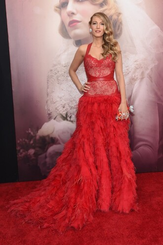 dress gown prom dress red dress red carpet dress blake lively lace feathers wedding dress red bag clutch