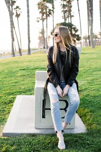 jacket mules tumblr black jacket leather jacket black leather jacket denim jeans blue jeans ripped jeans shoes sunglasses aviator sunglasses