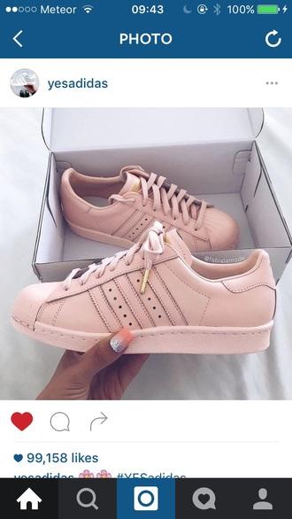 shoes pink rose gold addidas superstars
