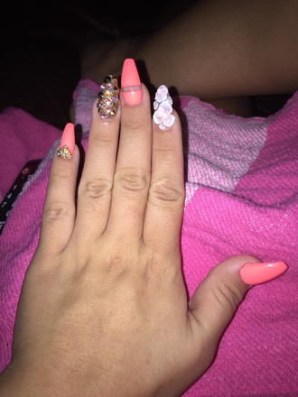 nail polish peach coral nails stones erica