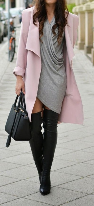 dress pink coat winter outfits boots handbag hermes ootd love style grey pink dress hermesx outfit cut-out winter sweater grey sweater grey sweatpants classy white dress hat jumpsuit shorts shoes