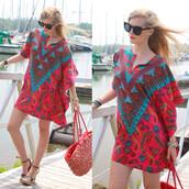 dress,paisley,paisley red,mini dress,multi dress,batwing sleeves