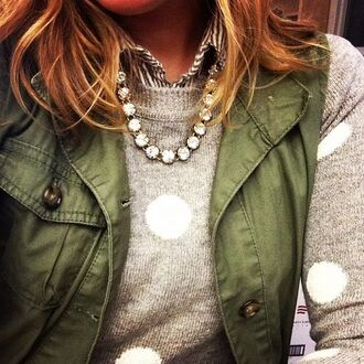 coat sweet urban outfitters outfit girly fall outfits big pattern sweater pull polka dots grey