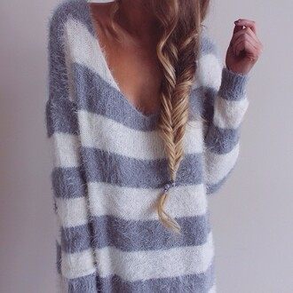 sweater stripes white grey sweater grey lines lana hair perfect girl photography braid hair/makeup inspo girly comfy fluffy lazy day comfysweater comfy tops fuzzy sweater cute sweater striped sweater blouse pull white sweater blue