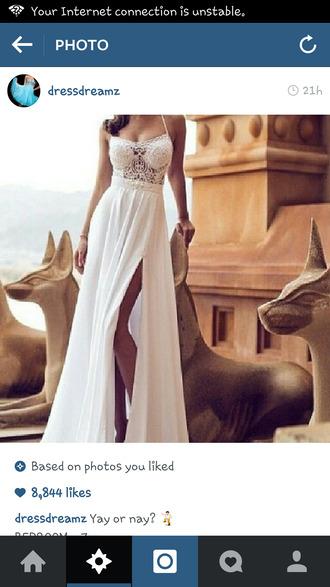 white dress maxi dress lace dress slit dress crochet maxi dress