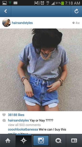 t-shirt shirt denim shorts necklace