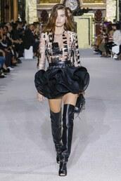 skirt,top,boots,Paris Fashion Week 2017,runway,balmain,mini skirt