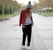 rebel attitude,blogger,leather jacket,grey sweater,pom pom beanie