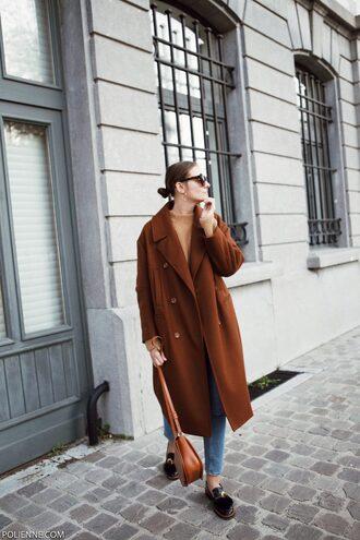 coat tumblr brown coat oversized oversized coat denim jeans blue jeans shoes loafers bag brown bag sunglasses